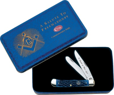 CA1058 Case Cutlery Masonic Trapper Pocket Knife Blue Bone
