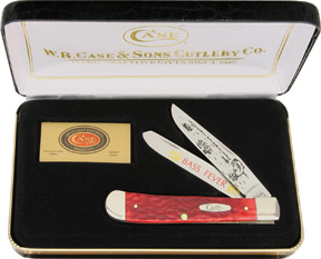 CA106R Case Cutlery Bass Fever Trapper Pocket Knife Red Pick Bone