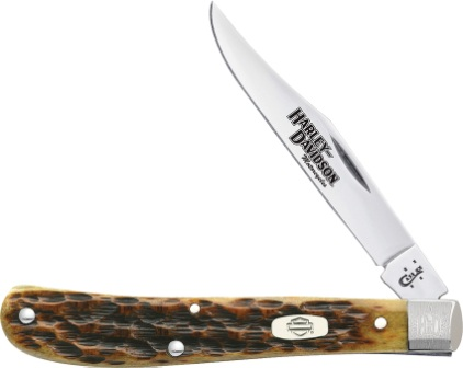 CA52153 Case Cutlery Harley Davidson Slimline Trapper Pocket Knife Peach Seed Bone