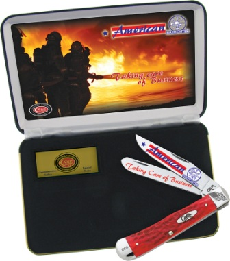 CAAFF Case Cutlery American Firefighter Trapper Pocket Knife Gift Set Red Bone