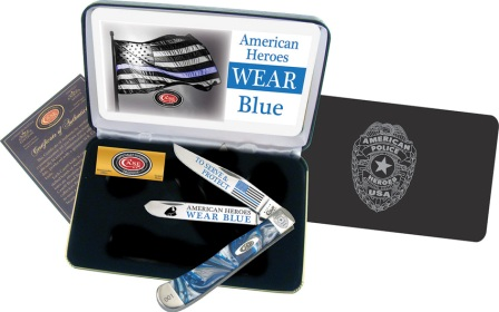 CABCBLUE Case Cutlery American Police Trapper Pocket Knife Blue Corelon
