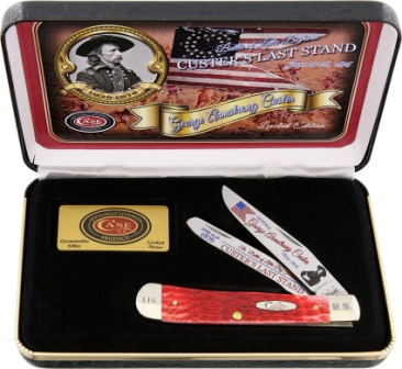 CACLSRPB Case Cutlery Custer's Last Stand Trapper Pocket Knife Red Bone