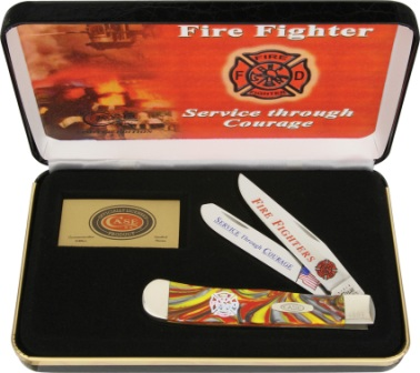 CAFF Case Cutlery Firefighter Trapper Pocket Knife Fire in the Box Corelon