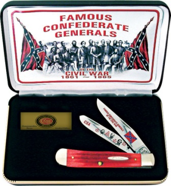 CAFGRPB Case Cutlery Famous Confederate Generals Trapper Pocket Knife Red Bone