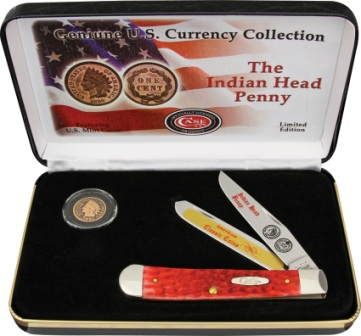 CAIHPRPB Case Cutlery Indian Head Penny Trapper Pocket Knife Gift Set Red Bone