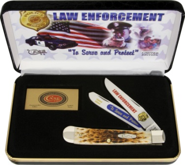 CALE Case Cutlery Law Enforcement Trapper Pocket Knife Amber Bone