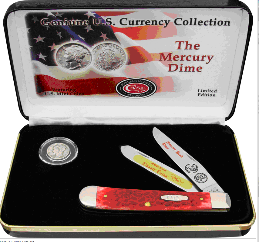 CAMDRPB Case Cutlery Mercury Dime Trapper Pocket Knife Gift Set Red Bone