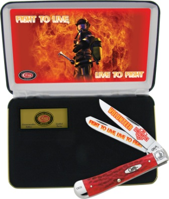 CAVFF Case Cutlery Volunteer Firefighter Trapper Pocket Knife Red Bone