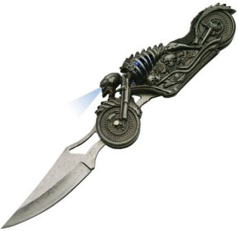 CN211410 Skull Rider LED Linerlock Pocket Knife