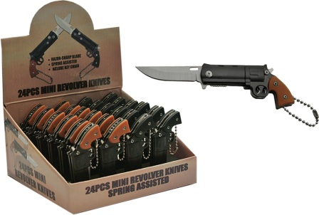 CN212323 Display 24 Piece Revolver Keychain Pocket Knife