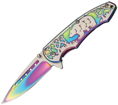 CN300268RB Bear Linerlock Pocket Knife Rainbow