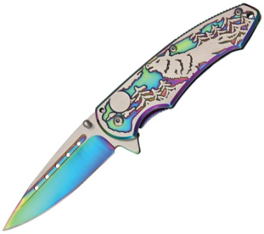 CN300269RB Wolf Linerlock Pocket Knife Rainbow