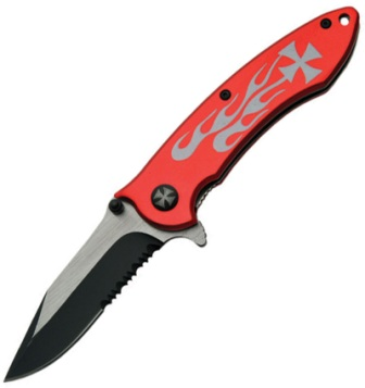 CN300280RD Flame Linerlock Pocket Knife A/O Red