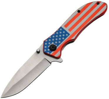 CN300406US Linerlock Folder Pocket Knife Stars & Stripes Clip