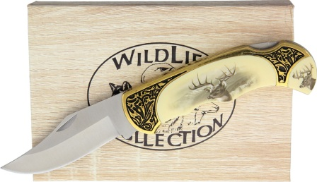 CN311411DE Deer Lockback Pocket Knife with Gift Box