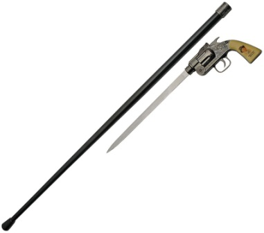CN926934BK Billy the Kid Revolver Sword Cane