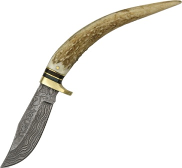 DM1027 Damascus Steel Stag Spike Knife