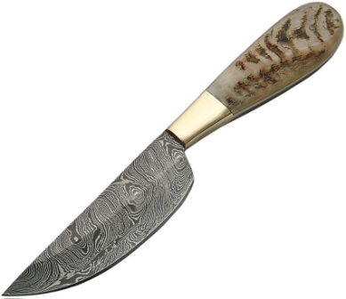 DM1120 Damascus Steel Deep Belly Skinning Knife Ram's Handles