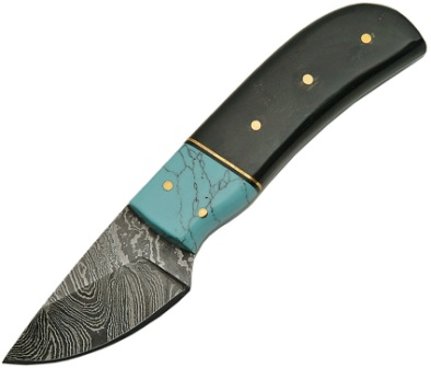 DM1146HN Damascus Steel Fixed Blade Skinning Knife Turquoise and Horn Handles