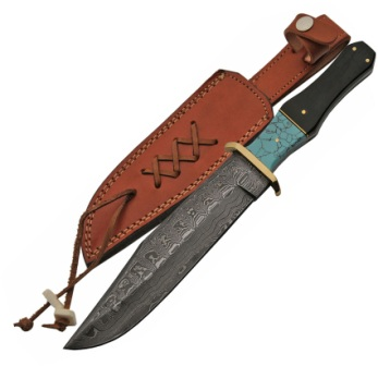 DM1149 Damascus Steel Bowie Knife Horn and Turquoise Handles
