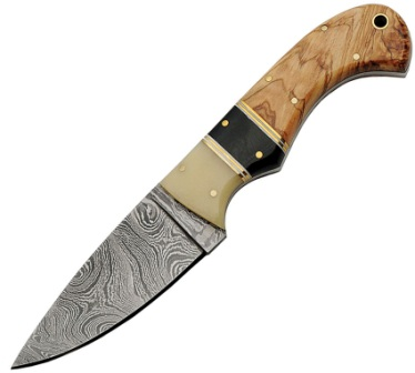 DM1192 Damascus Steel Skinner Knife Bone Horn and Olive Wood Handles