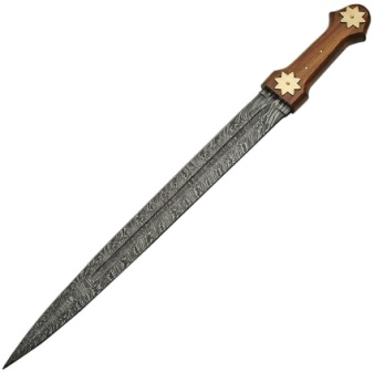 DM5013 Damascus Steel Firestorm Sword Wood Handle