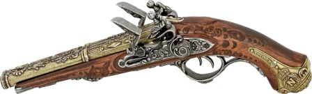 DX1026 Denix French 1806 Napoleon Double Barrel Flintlock Pistol Replica