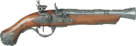DX1219 Denix 18th Century English Flintlock Blunderbuss Pistol Replica