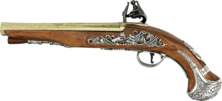 DX1228 Denix 18th Century English Flintlock Pistol Replica George Washington's Signature Collector's Model