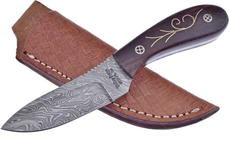 FVFD58RW Frost Cutlery Valley Forge Damascus Skinner Knife Rosewood