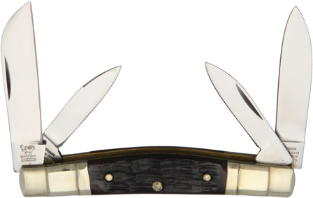 HR324CBRPB Hen & Rooster Congress Pocket Knife Brown Pick Bone