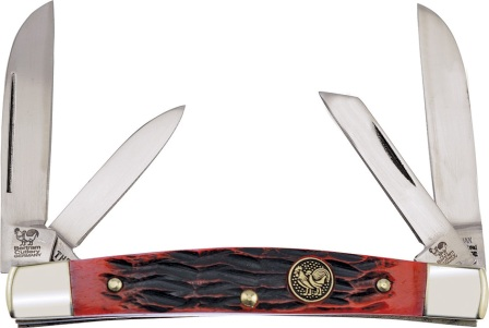 HR364CRPB Hen & Rooster Knives Congress Pocket Knife Carbon Red Pick Bone