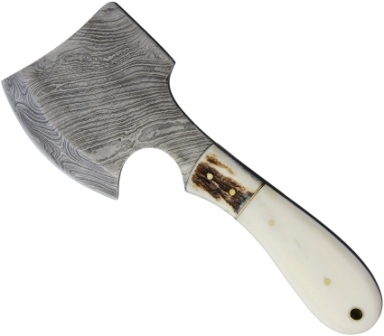MR826D Marbles Damascus Hatchet Smooth Bone