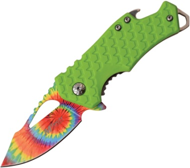 MTA882TGN MTech Knives Tie Dye Framelock Pocket Knife Green A/O