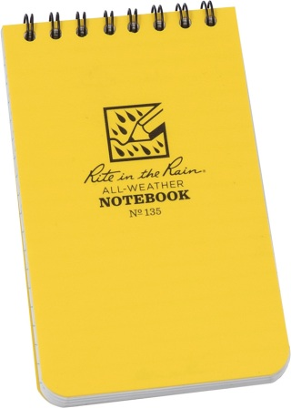 RITR135 Rite in the Rain Top Spiral Yellow Notebook 3x5
