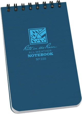 RITR235 Rite in the Rain Top Spiral Notebook 3x5 Blue