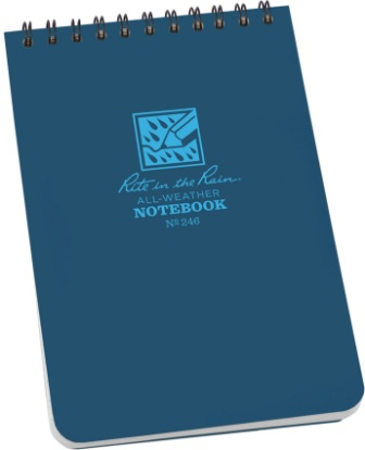 RITR246 Rite in the Rain Top-Spiral Waterproof Notebook 4x6 Blue