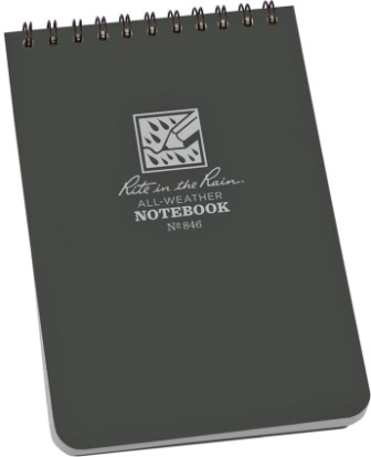 RITR846 Rite in the Rain Top-Spiral Waterproof Notebook 4x6 Gray