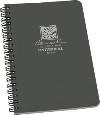 RITR873 Rite in the Rain Side Spiral Waterproof Notebook Gray
