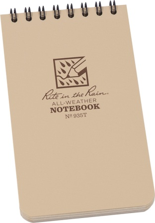 RITR935T Rite in the Rain 3 x 5 Top Spiral Notebook Tan