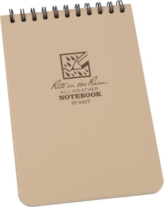 RITR946T Rite in the Rain 4 x 6 Top Spiral Notebook Tan