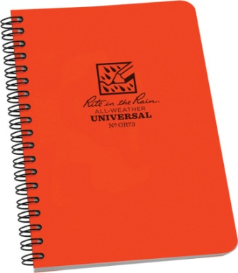 RITROR73 Rite in the Rain Side Spiral Waterproof Notebook Orange