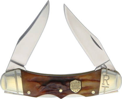 RR1798 Rough Rider Knives Double Lock Pocket Knife Brown Stag Bone
