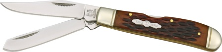RR948 Rough Rider Mini Trapper Amber Jigged Bone Handle Pocket Knife
