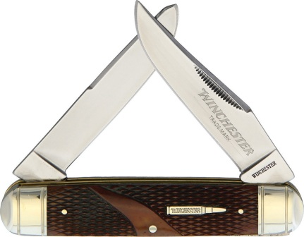 WN29123C Winchester Trapper Pocket Knife Brown Checkered Bone