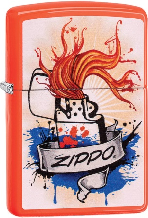 ZO02193 Zippo Lighters Orange Splash Lighter