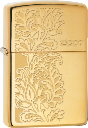 ZO02210 Zippo Lighters Gold Paisley Lighter