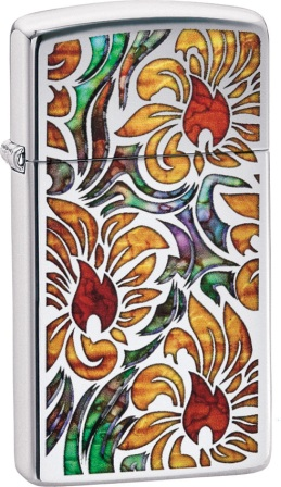 ZO05591 Zippo Lighters Fusion Floral Slim Lighter