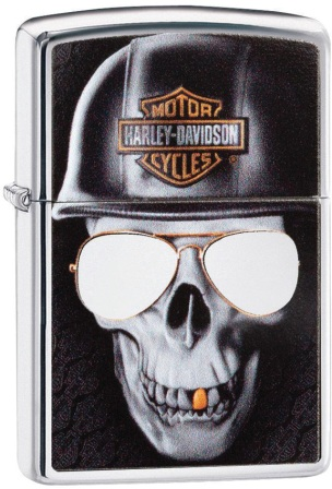 ZO06740 Zippo Lighters Harley Davidson Skull Lighter