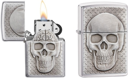 ZO07682 Zippo Skull with Brain Surprise
